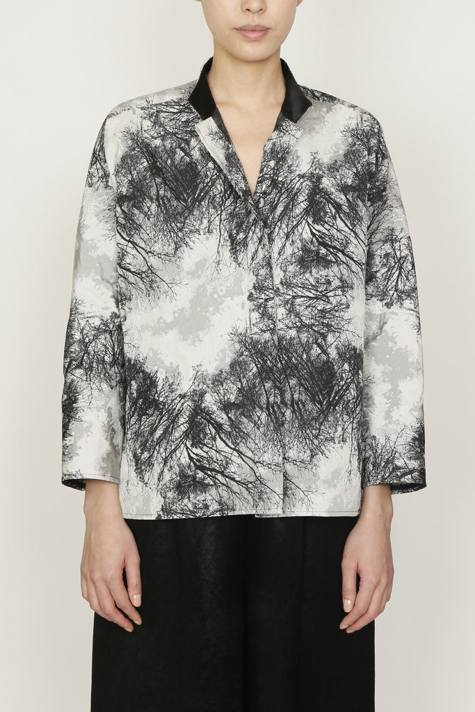 Nite Sky Jacquard Shirt Jacket with Contrast Mandarin Collar and Side Slits