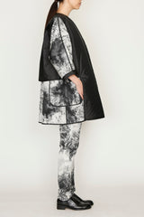 Nite Sky Jacquard One Size Reversible Coat with Duck Down Lining and Sleeve Trims