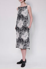 Nite Sky Jacquard Strapped Dress with Side Pockets