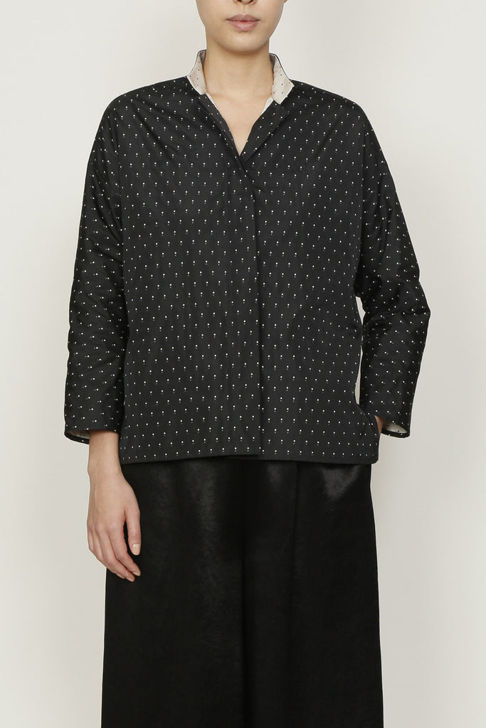 Black and Cream Pindot Jacquard Shirt Jacket with Mandarin Collar