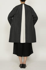 Black and Cream Polka Dot Jacquard One Size Fits All Swing Coat with Welt Pocket
