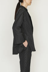 Polka Dot Jacquard One-Size Front Pocket Jacket