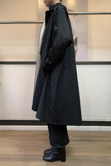 Pindot Jacquard Oversized Swing Back Coat with Kimono Sleeves and Side Pockets