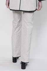 Polka Dot Jacquard Trouser with Back Welt Pockets