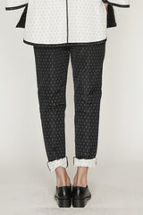 Polka Dot Jacquard Ankle Length Back Zip Pedal Pusher