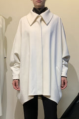 Cream Wool One-Size-Fits-All Cocoon Coat with Oversized Collar and Welt Pockets