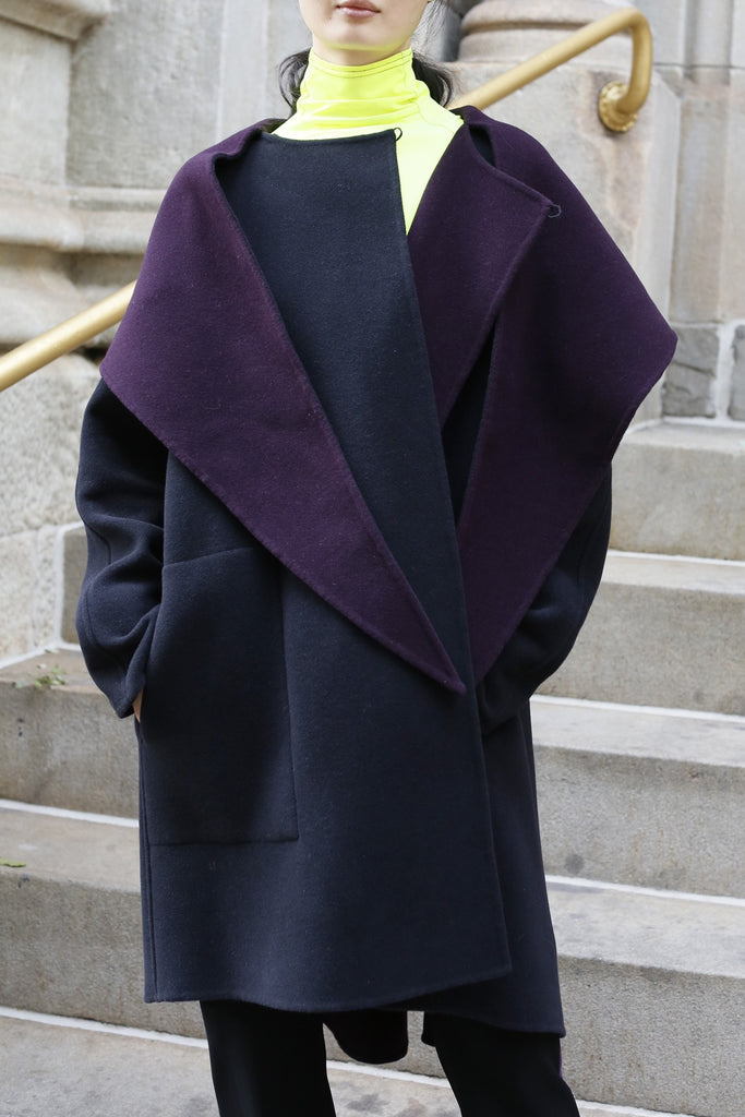 Black and Plum Virgin Wool and Angora Blend Sweep Coat with Scarf Hood