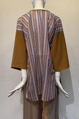Multicolor Silk Cotton Stripe and Ginger Smart Gab Zero-Waste Malay Shirt