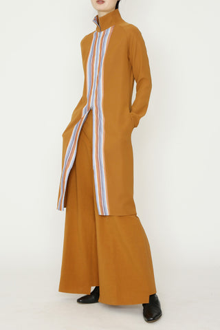 Turmeric Microfiber and Multicolor Silk Stripe Long Zippered Tunic Dress