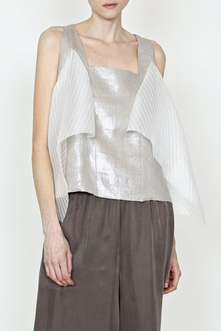 Lamé Linen and Sheer Stripe Flag Tank Top