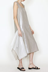Lamé Linen Square Neck Flag Dress