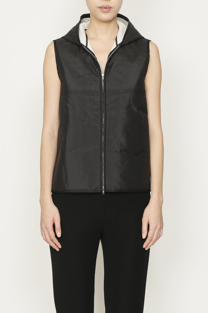 Duck Thindown Hooded Vest with Front and Side Pockets