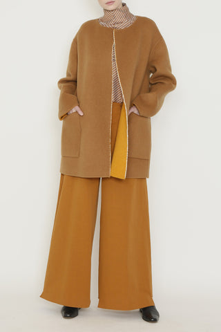 Pumpkin and Camel Doubleface Wool Reversible Coat with Triangular Back Insert and Pockets