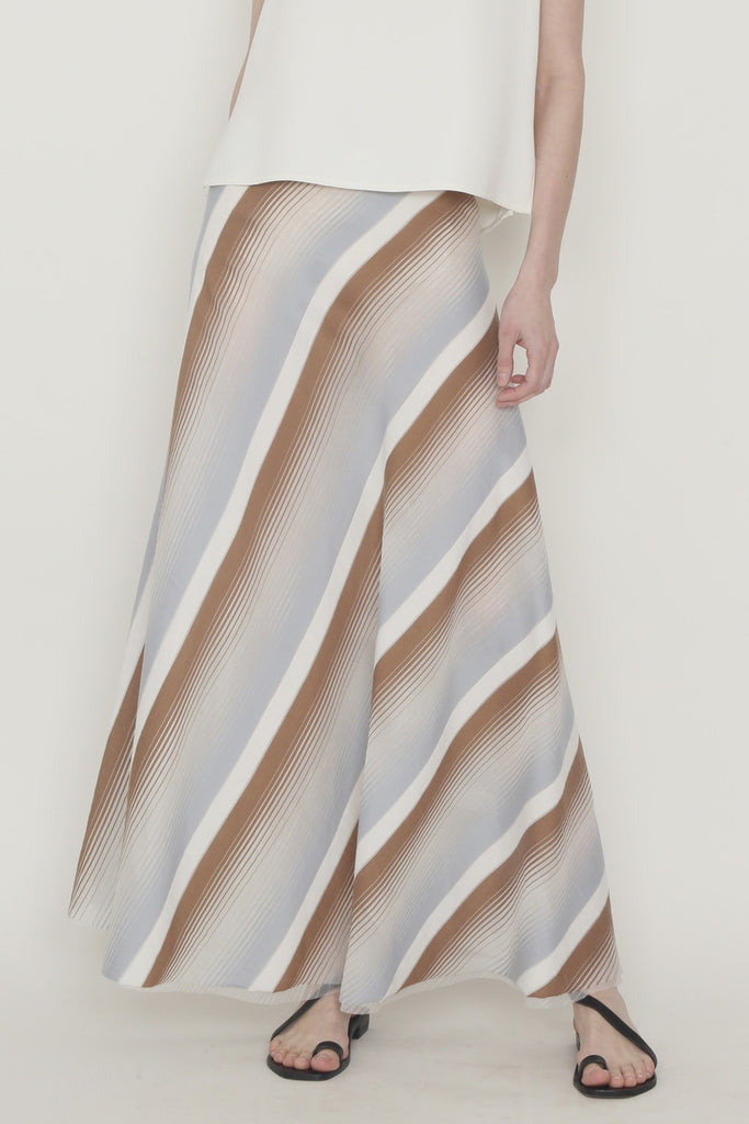 Multicolor Silk Sheer Stripe Long A-Line Skirt