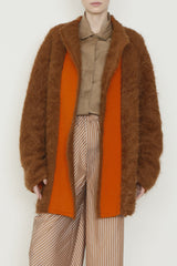 Brown and Orange Wool and Alpaca High Pile  One-Size-Fits-All Coat with Pockets
