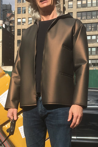 Metallic Bronze Foam Hooded Three-Pocket Rain Jacket