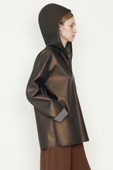 Coated Bronze Tech Foam Hooded Zip Front Jacket