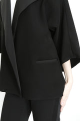 Lapel Kimono Sleeve Jacket in Smart Gab Microfiber