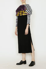 Multicolor Kabuki Jacquard Catenary Collar Dress with Side Slit