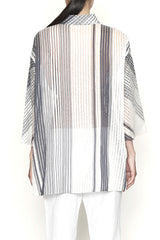Sheer Stripe One-Size-Fits-All Big Shirt with Side Slits