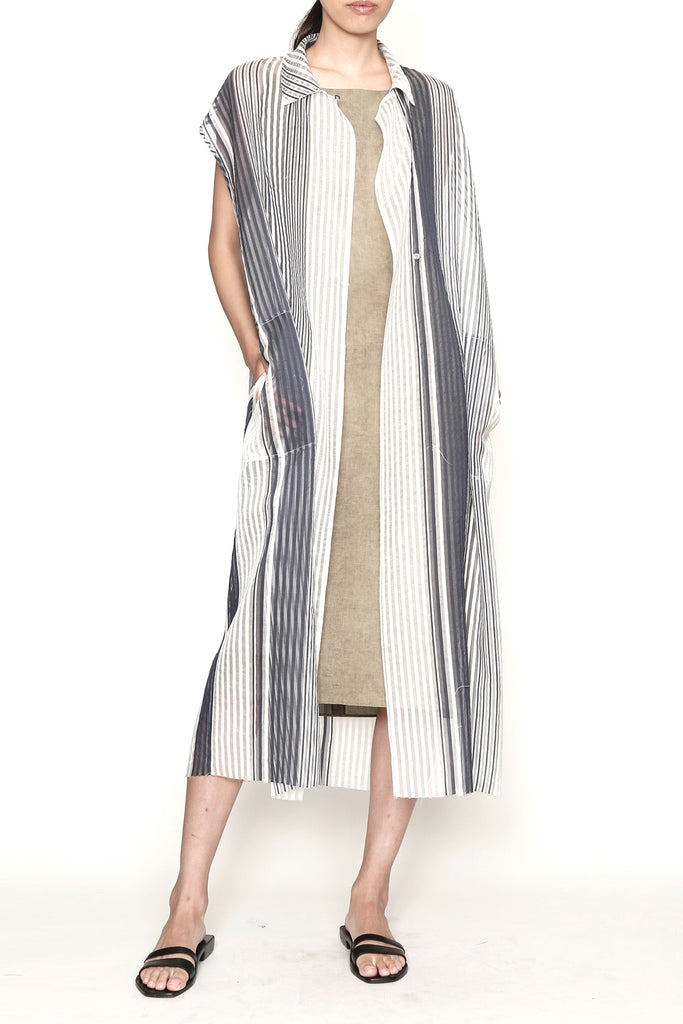 Sheer Stripe One-Size-Fits-All Sleeveless Dress