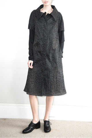 Printed Coat Dress with Jersey Sleeves