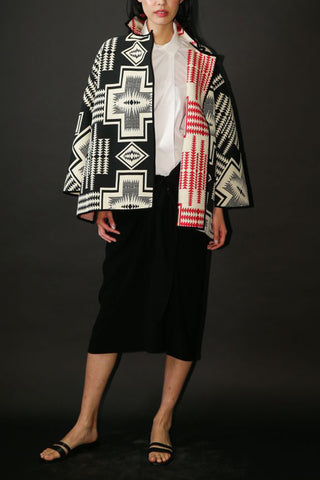 Red and Black Aztec Design Jacquard One-Size-Fits-All Reversible Jacket