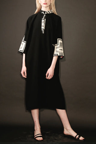 Smart Gabardine Caftan Dress with Aztec Design Jacquard Collar and Sleeve Details