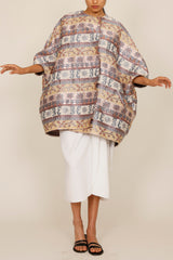 Ali Baba Jacquard One-Size-Fits-All Cocoon Coat with Slanted Welt Pockets