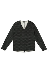 Black and Cream Polka Dot Jacquard V Neck Gusset Top