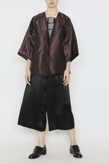 Silk Taffeta Plum and Silver Melange Three-Pocket Kimono Jacket