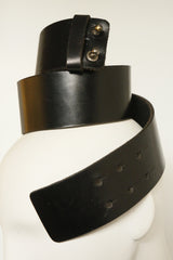 2'' Wide Black Genuine Leather Hand-Crafted Belt