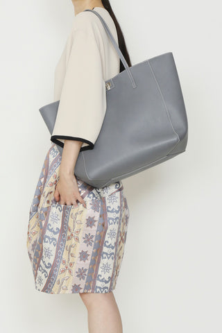 Lambertson Truex Grey Leather Shopper Tote