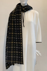 Wool Perforated Checker Scarf / Shawl