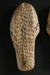 Hand-Made Straw Sandals with Stripe Pattern
