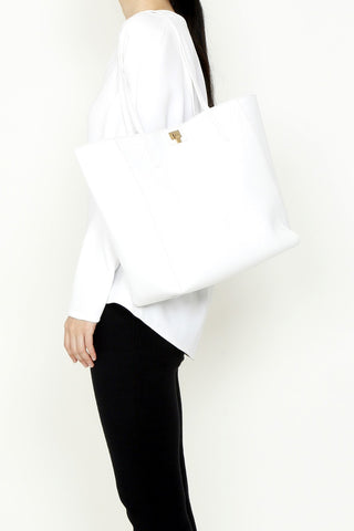 Lambertson Truex White Leather Shopper Tote
