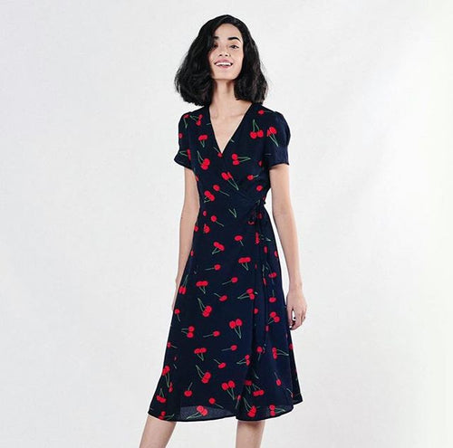 Long Cherries Wrap Dress