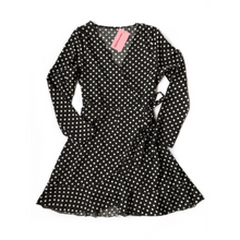 Load image into Gallery viewer, Black Polka Wrap Dress