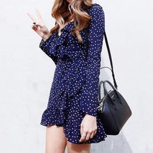 Load image into Gallery viewer, Ruffled Polka Wrap Dress