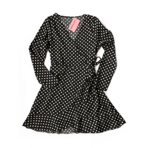 Black Polka Wrap Dress