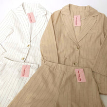 Load image into Gallery viewer, Striped Linen Blazer Set