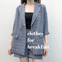 Load image into Gallery viewer, Checkered Linen Blazer Set
