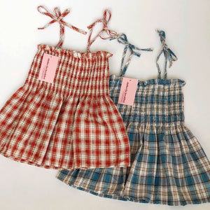 Linen Plaid Babydoll Top