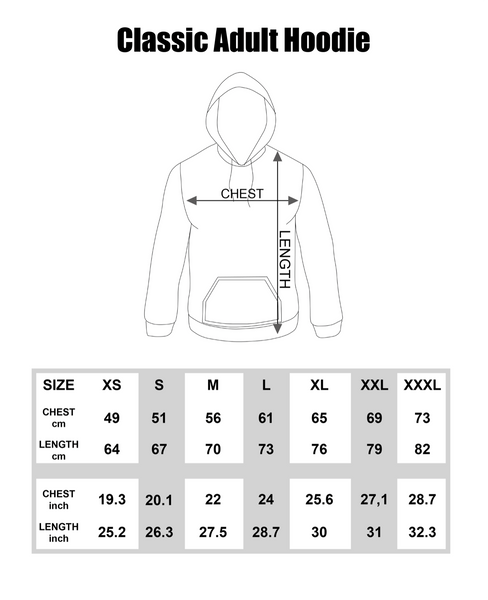 Classic Adult Hoodie Size Guide | Frozen Apparel