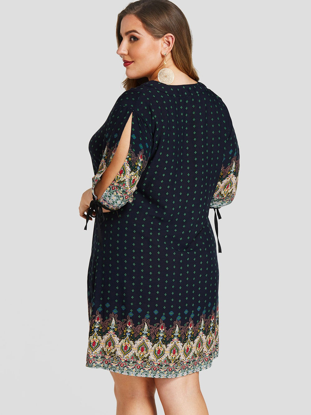 Womens Half Sleeve Plus Size Dress