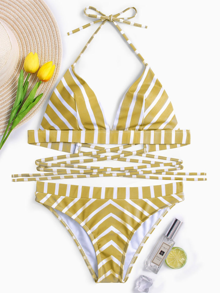 Halter Stripe Sleeveless Yellow Bikini Set