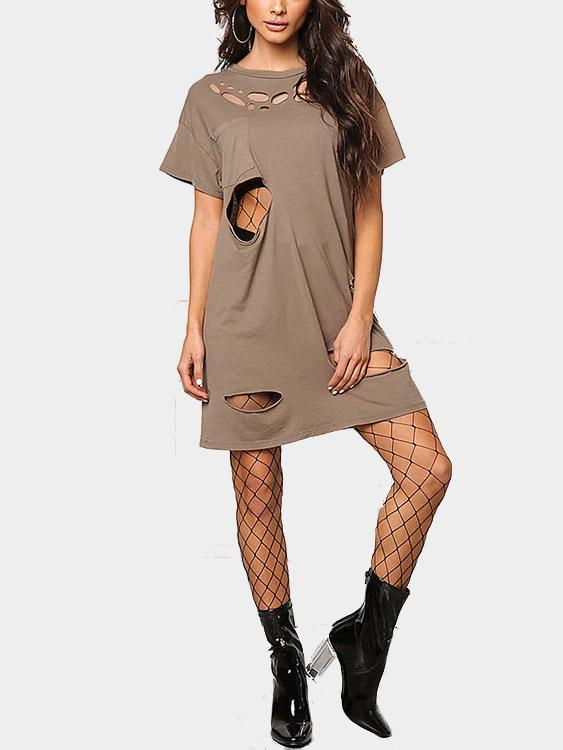 Brown Round Neck Short Sleeve Hollow Cut Out Shirt Dresses