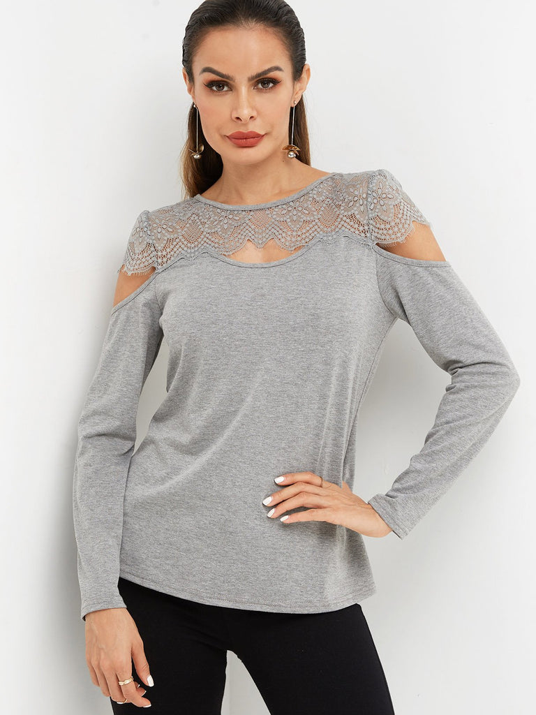Round Neck Plain Lace Hollow Long Sleeve Grey T-Shirts