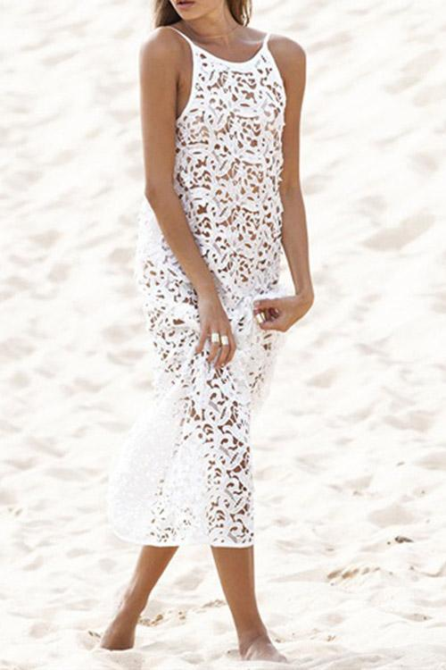 White Round Neck Sleeveless Lace Backless Hollow See Through Maxi Dresses