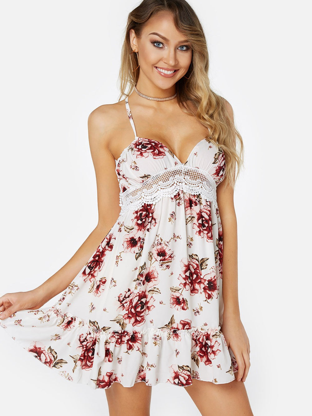 White V-Neck Sleeveless Floral Print Lace Backless Hollow Spaghetti Strap Self-Tie Stitching Hem Mini Dress